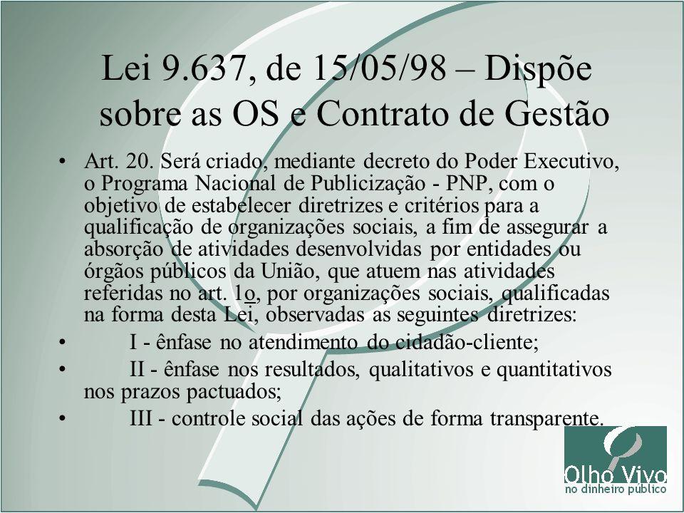 Lei 9.637, de 15/05/98 – Dispõe sobre as OS e Contrato de Gestão Art. 20. Será criado, mediante decreto do Poder Executivo, o Programa Nacional de Pub