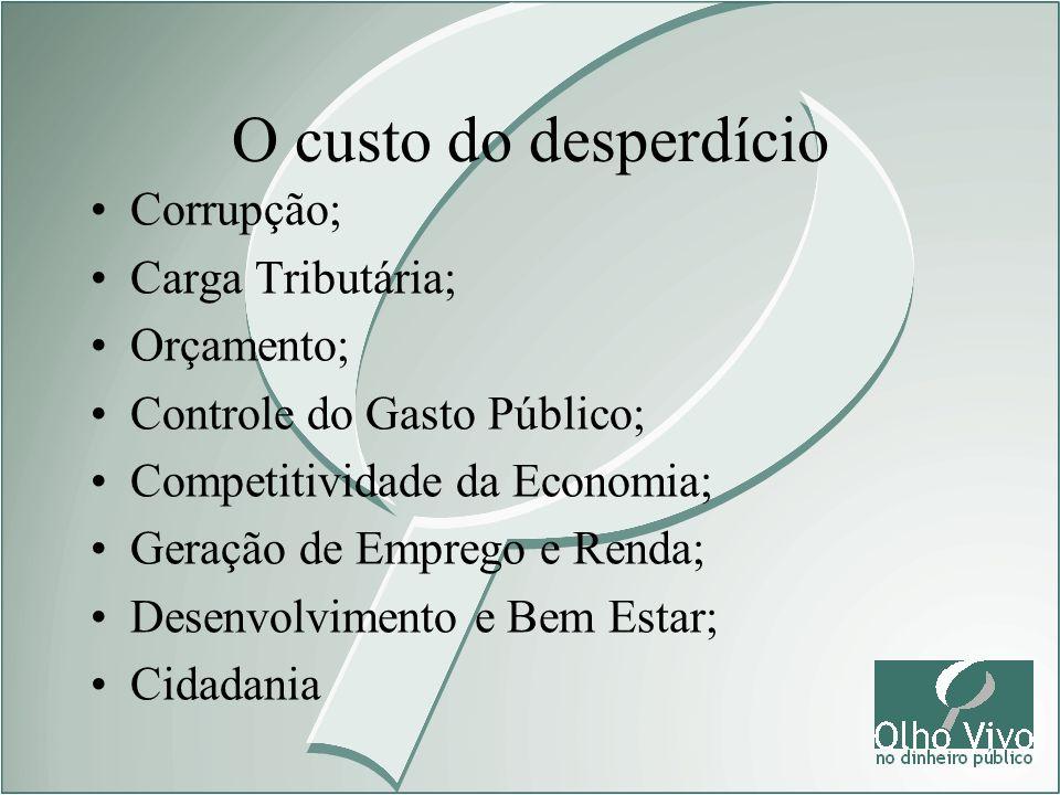 Corrupção; Carga Tributária; Orçamento; Controle do Gasto Público; Competitividade da Economia; Geração de Emprego e Renda; Desenvolvimento e Bem Esta