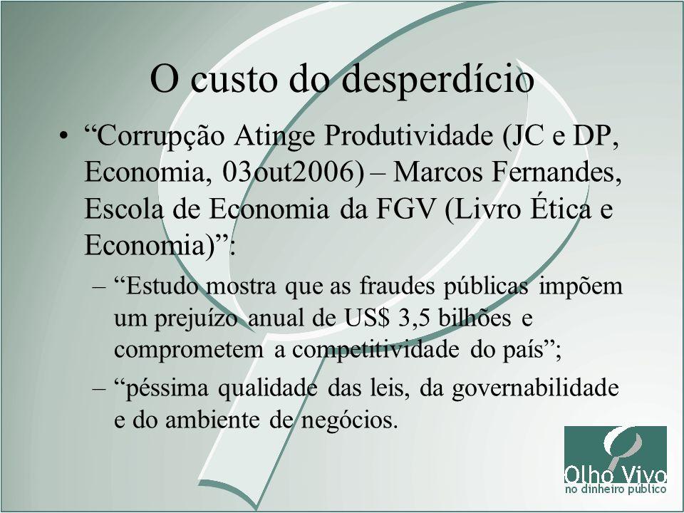 Corrupção Atinge Produtividade (JC e DP, Economia, 03out2006) – Marcos Fernandes, Escola de Economia da FGV (Livro Ética e Economia): –Estudo mostra q