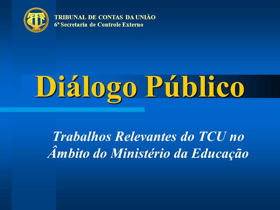 Diálogo Público Trabalhos Relevantes do TCU no Âmbito do Ministério da Educação TRIBUNAL DE CONTAS DA UNIÃO 6ª Secretaria de Controle Externo