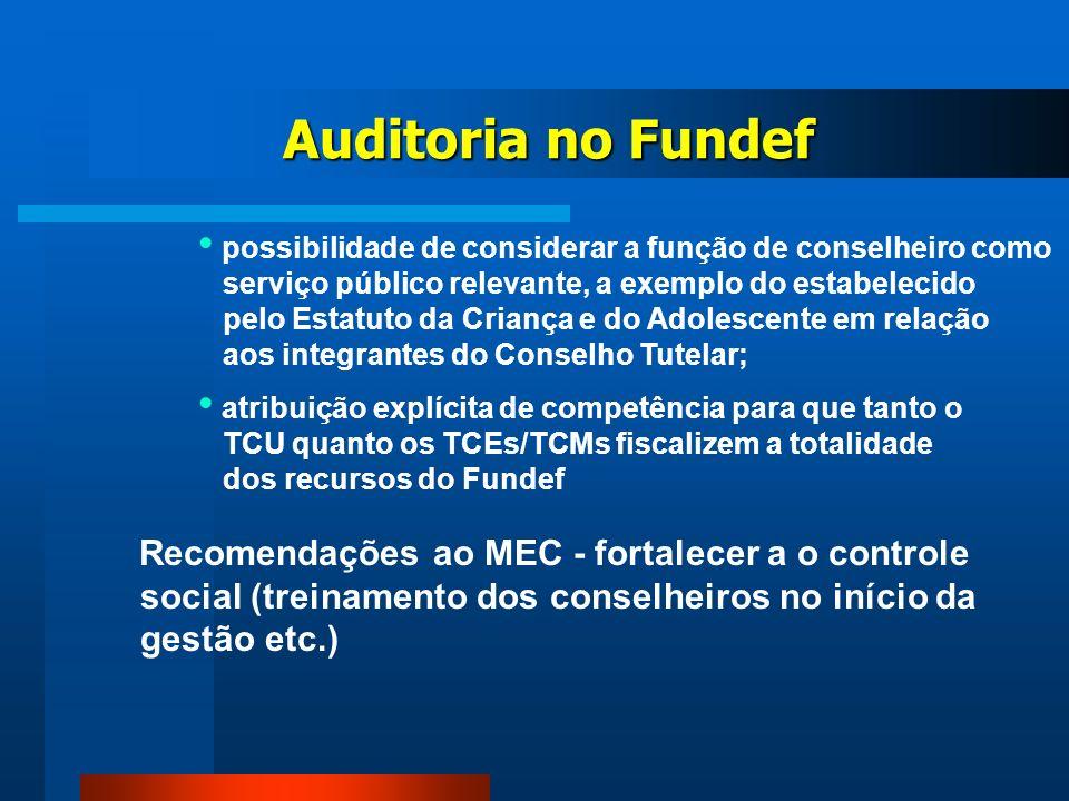 Recomendações ao MEC - fortalecer a o controle social (treinamento dos conselheiros no início da gestão etc.) Auditoria no Fundef possibilidade de con