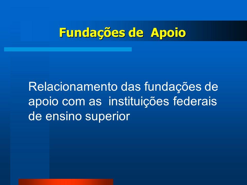 Fundações de Apoio Relacionamento das fundações de apoio com as instituições federais de ensino superior