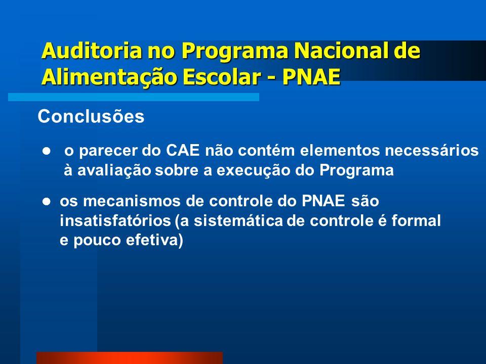 os mecanismos de controle do PNAE são insatisfatórios (a sistemática de controle é formal e pouco efetiva) Auditoria no Programa Nacional de Alimentaç