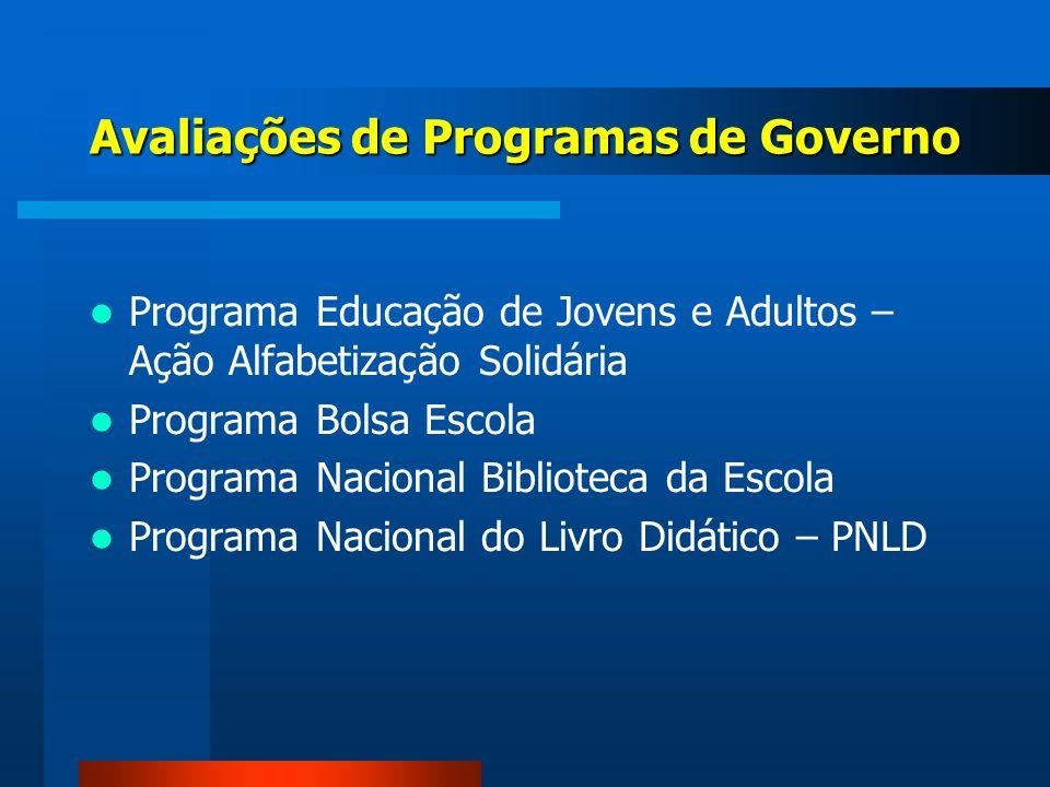 Avaliações de Programas de Governo Programa Educação de Jovens e Adultos – Ação Alfabetização Solidária Programa Bolsa Escola Programa Nacional Biblio