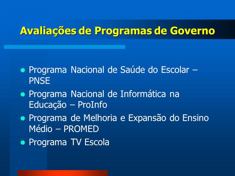 Programa Nacional de Saúde do Escolar – PNSE Programa Nacional de Informática na Educação – ProInfo Programa de Melhoria e Expansão do Ensino Médio –