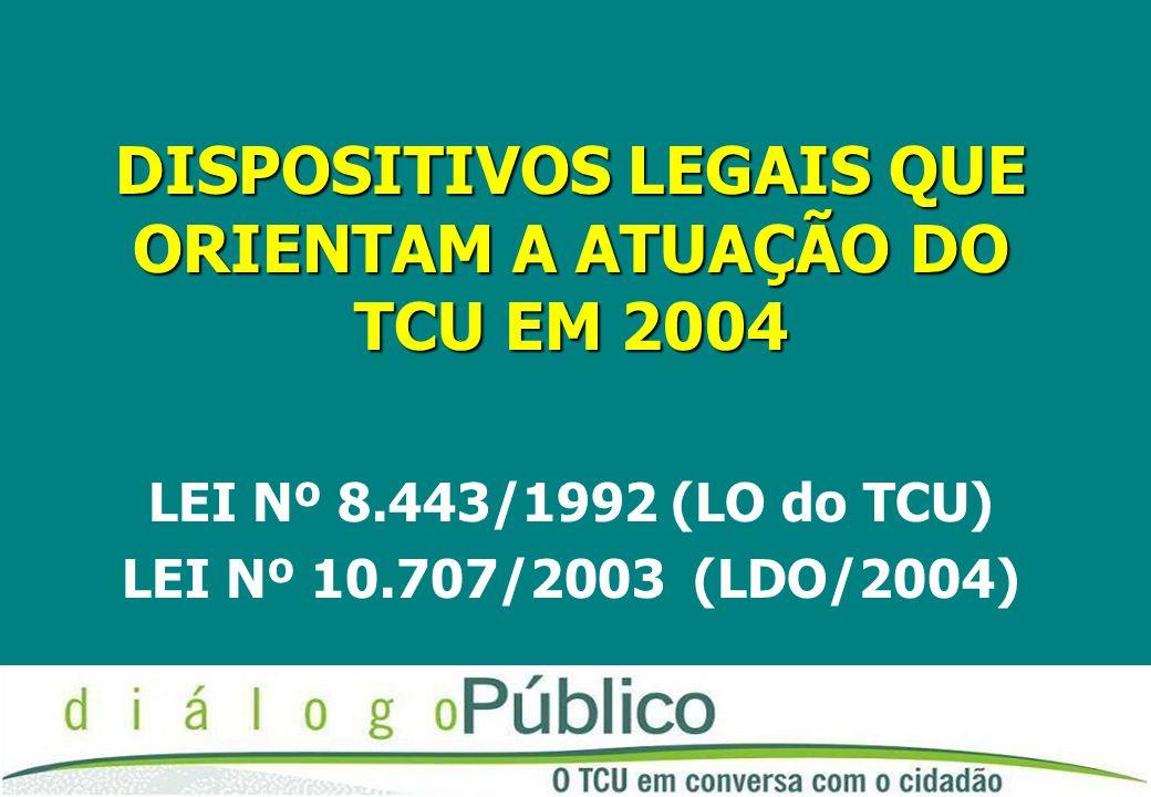 DISPOSITIVOS LEGAIS QUE ORIENTAM A ATUAÇÃO DO TCU EM 2004 LEI Nº 8.443/1992 (LO do TCU) LEI Nº 10.707/2003 (LDO/2004)