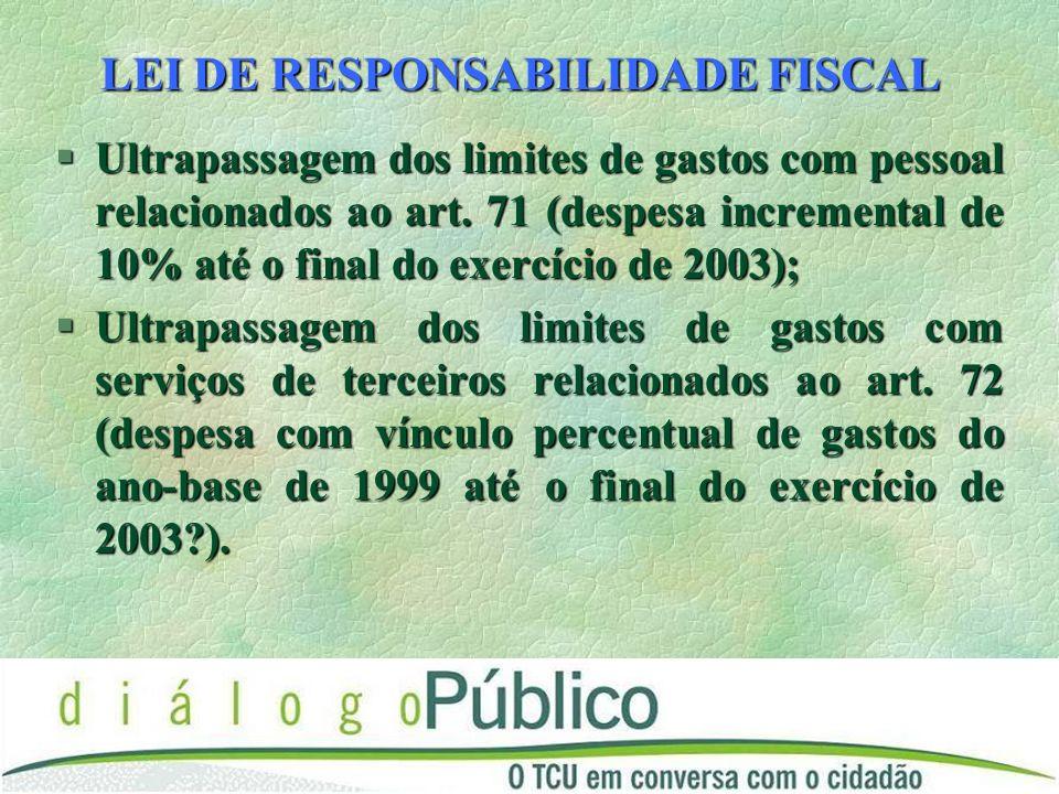 LEI DE RESPONSABILIDADE FISCAL §Ultrapassagem dos limites de gastos com pessoal relacionados ao art.