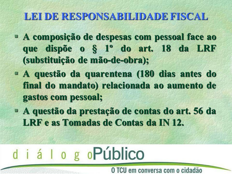 LEI DE RESPONSABILIDADE FISCAL §A composição de despesas com pessoal face ao que dispõe o § 1º do art.