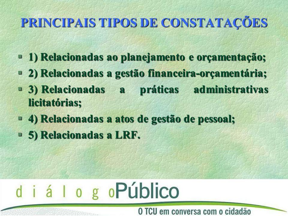 PRINCIPAIS TIPOS DE CONSTATAÇÕES §1) Relacionadas ao planejamento e orçamentação; §2) Relacionadas a gestão financeira-orçamentária; §3) Relacionadas a práticas administrativas licitatórias; §4) Relacionadas a atos de gestão de pessoal; §5) Relacionadas a LRF.
