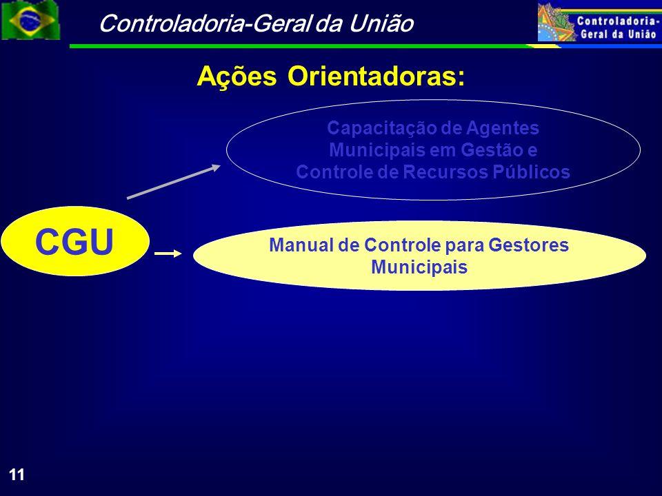Controladoria-Geral da União 11 CGU Capacitação de Agentes Municipais em Gestão e Controle de Recursos Públicos Manual de Controle para Gestores Municipais Ações Orientadoras: