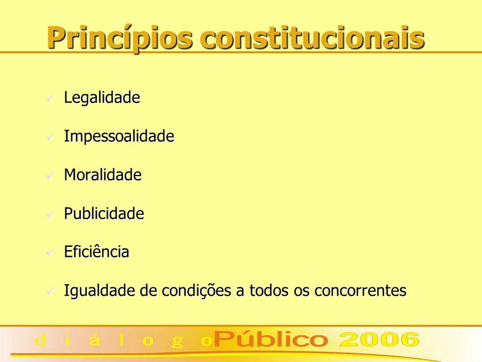 Princípios constitucionais Legalidade Legalidade Impessoalidade Impessoalidade Moralidade Moralidade Publicidade Publicidade Eficiência Eficiência Igualdade de condições a todos os concorrentes Igualdade de condições a todos os concorrentes