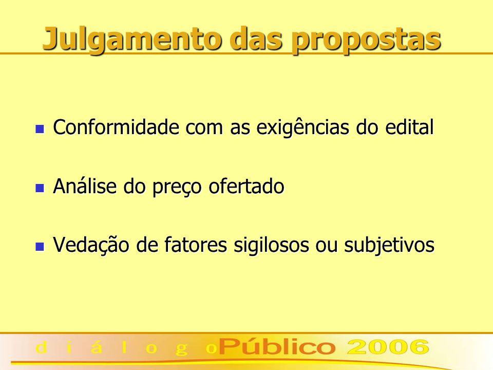 Julgamento das propostas Conformidade com as exigências do edital Conformidade com as exigências do edital Análise do preço ofertado Análise do preço ofertado Vedação de fatores sigilosos ou subjetivos Vedação de fatores sigilosos ou subjetivos
