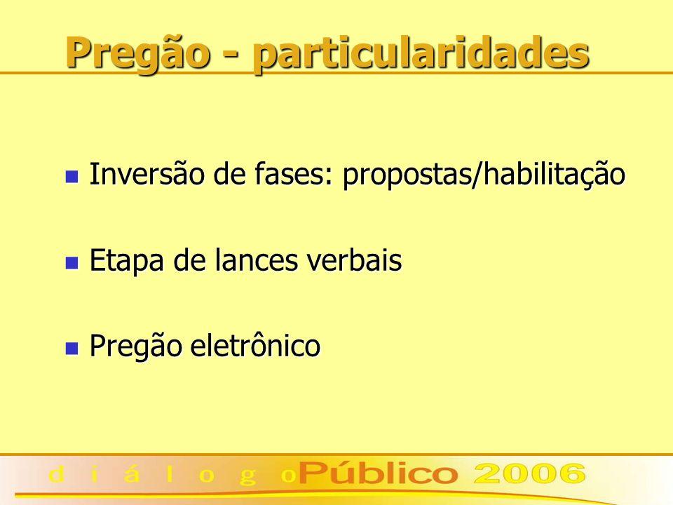 Pregão - particularidades Inversão de fases: propostas/habilitação Inversão de fases: propostas/habilitação Etapa de lances verbais Etapa de lances verbais Pregão eletrônico Pregão eletrônico