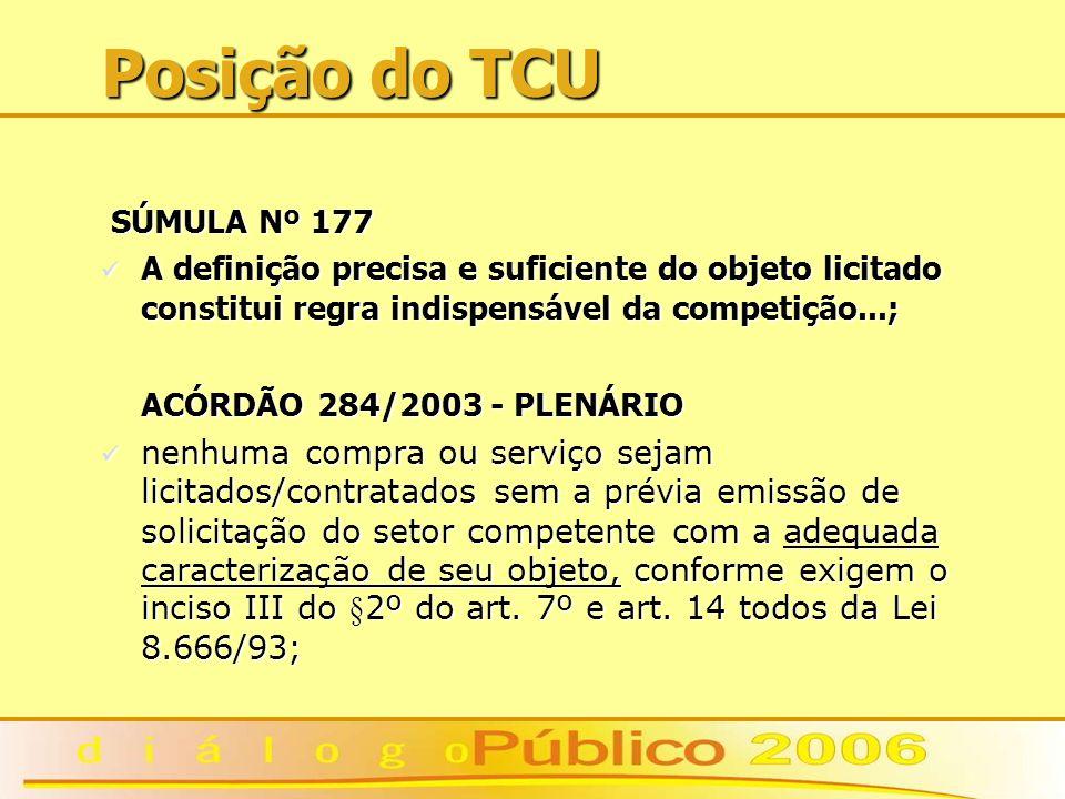 Posição do TCU SÚMULA Nº 177 SÚMULA Nº 177 A definição precisa e suficiente do objeto licitado constitui regra indispensável da competição...; A definição precisa e suficiente do objeto licitado constitui regra indispensável da competição...; ACÓRDÃO 284/2003 - PLENÁRIO nenhuma compra ou serviço sejam licitados/contratados sem a prévia emissão de solicitação do setor competente com a adequada caracterização de seu objeto, conforme exigem o inciso III do §2º do art.