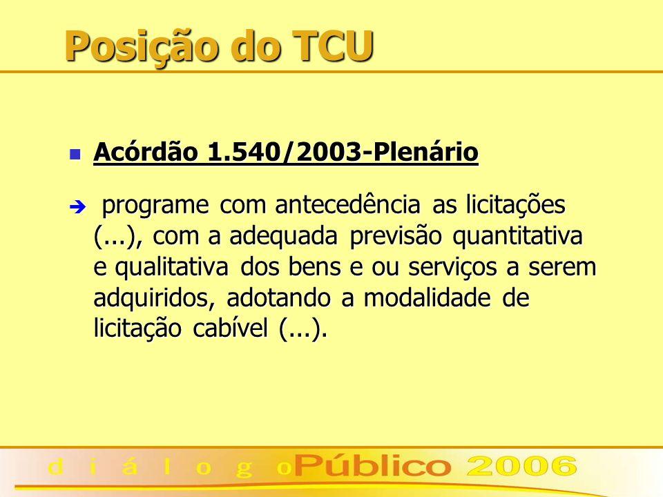 Posição do TCU Acórdão 1.540/2003-Plenário Acórdão 1.540/2003-Plenário è programe com antecedência as licitações (...), com a adequada previsão quantitativa e qualitativa dos bens e ou serviços a serem adquiridos, adotando a modalidade de licitação cabível (...).