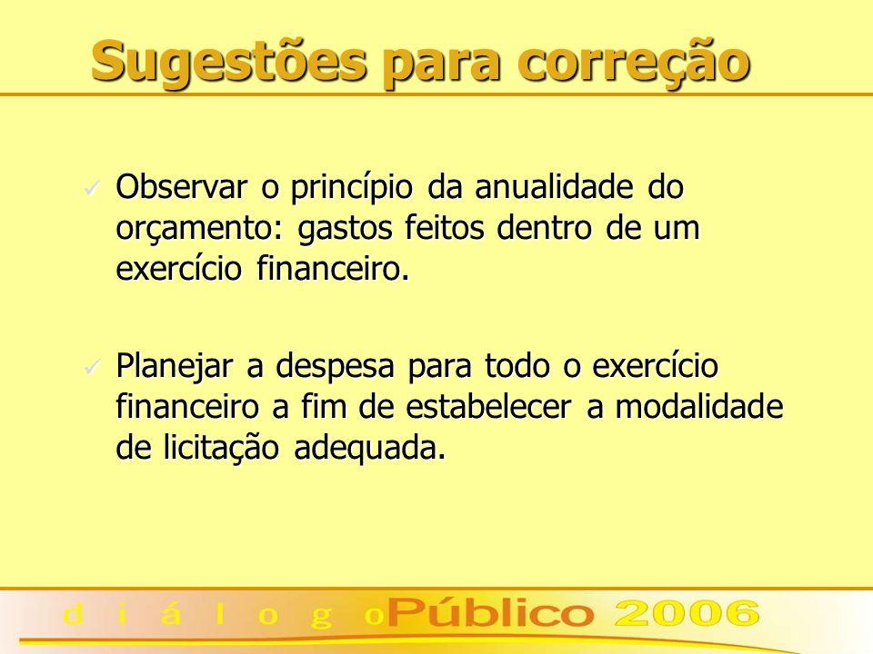 Sugestões para correção Observar o princípio da anualidade do orçamento: gastos feitos dentro de um exercício financeiro. Observar o princípio da anua
