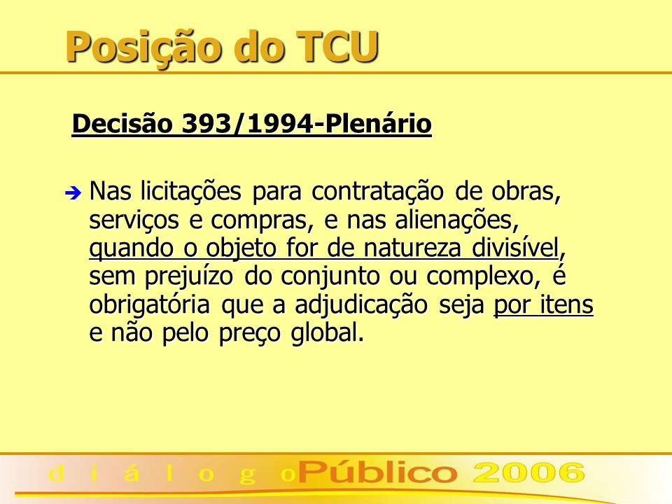 Posição do TCU Decisão 393/1994-Plenário Decisão 393/1994-Plenário è Nas licitações para contratação de obras, serviços e compras, e nas alienações, q