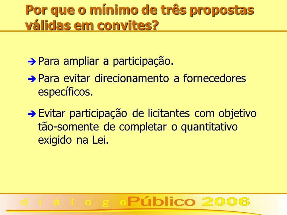 Por que o mínimo de três propostas válidas em convites? è Para ampliar a participação. è Para evitar direcionamento a fornecedores específicos. è Evit
