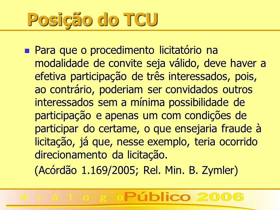Posição do TCU Para que o procedimento licitatório na modalidade de convite seja válido, deve haver a efetiva participação de três interessados, pois,