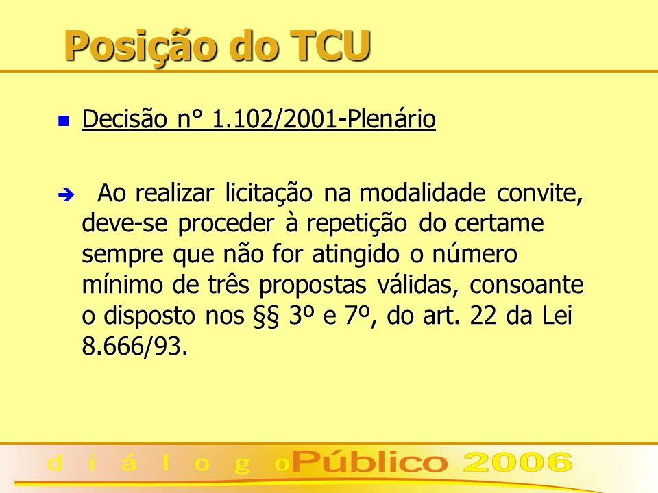 Posição do TCU Decisão n° 1.102/2001-Plenário Decisão n° 1.102/2001-Plenário è Ao realizar licitação na modalidade convite, deve-se proceder à repetição do certame sempre que não for atingido o número mínimo de três propostas válidas, consoante o disposto nos §§ 3º e 7º, do art.
