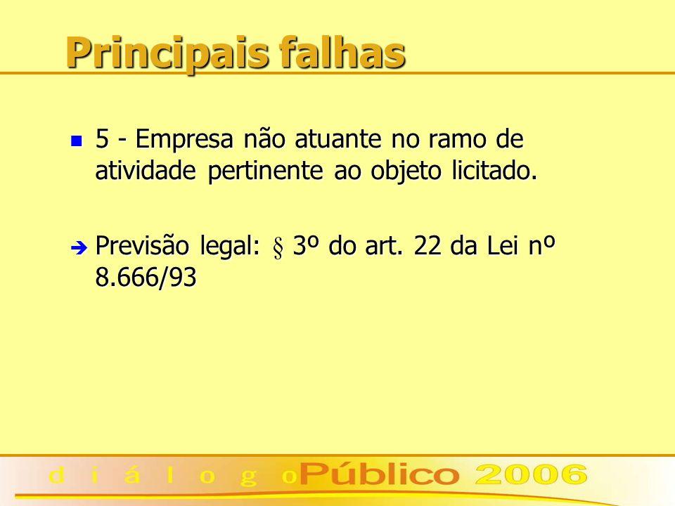 Principais falhas 5 - Empresa não atuante no ramo de atividade pertinente ao objeto licitado. 5 - Empresa não atuante no ramo de atividade pertinente