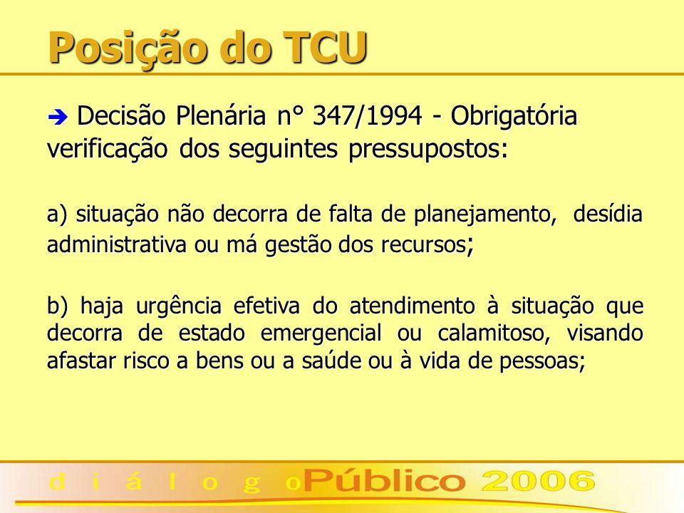 Posição do TCU è Decisão Plenária n° 347/1994 - Obrigatória verificação dos seguintes pressupostos: a) situação não decorra de falta de planejamento,