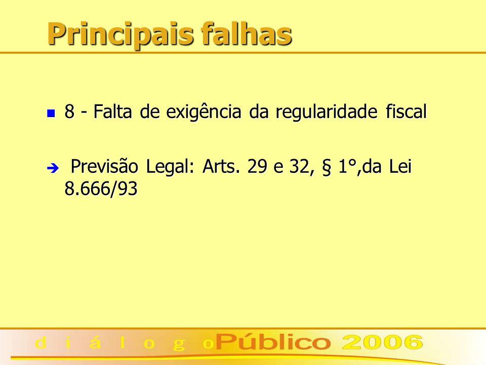 Principais falhas 8 - Falta de exigência da regularidade fiscal 8 - Falta de exigência da regularidade fiscal è Previsão Legal: Arts. 29 e 32, § 1°,da