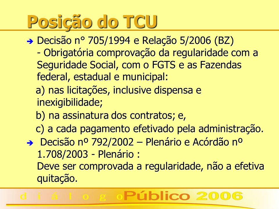 Posição do TCU è Decisão n° 705/1994 e Relação 5/2006 (BZ) - Obrigatória comprovação da regularidade com a Seguridade Social, com o FGTS e as Fazendas