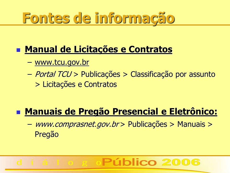 Fontes de informação Manual de Licitações e Contratos Manual de Licitações e Contratos –www.tcu.gov.br –Portal TCU > Publicações > Classificação por a