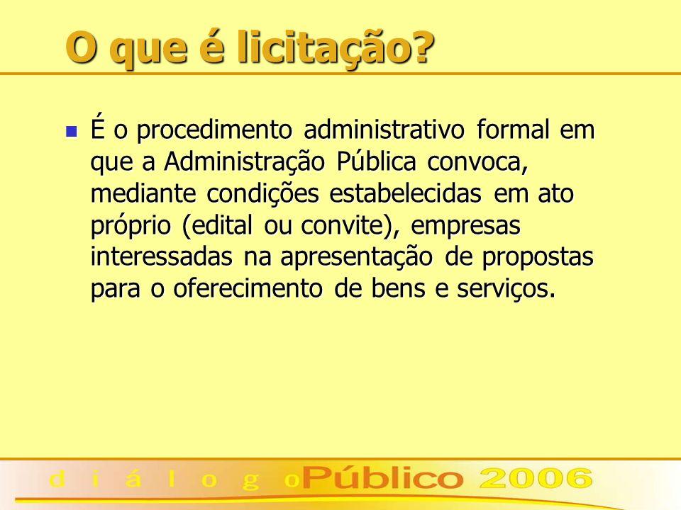 O que é licitação? É o procedimento administrativo formal em que a Administração Pública convoca, mediante condições estabelecidas em ato próprio (edi