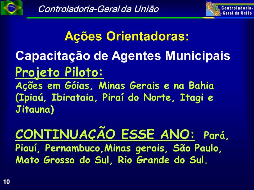 Controladoria-Geral da União 10 Ações Orientadoras: Capacitação de Agentes Municipais Projeto Piloto: Ações em Góias, Minas Gerais e na Bahia (Ipiaú,