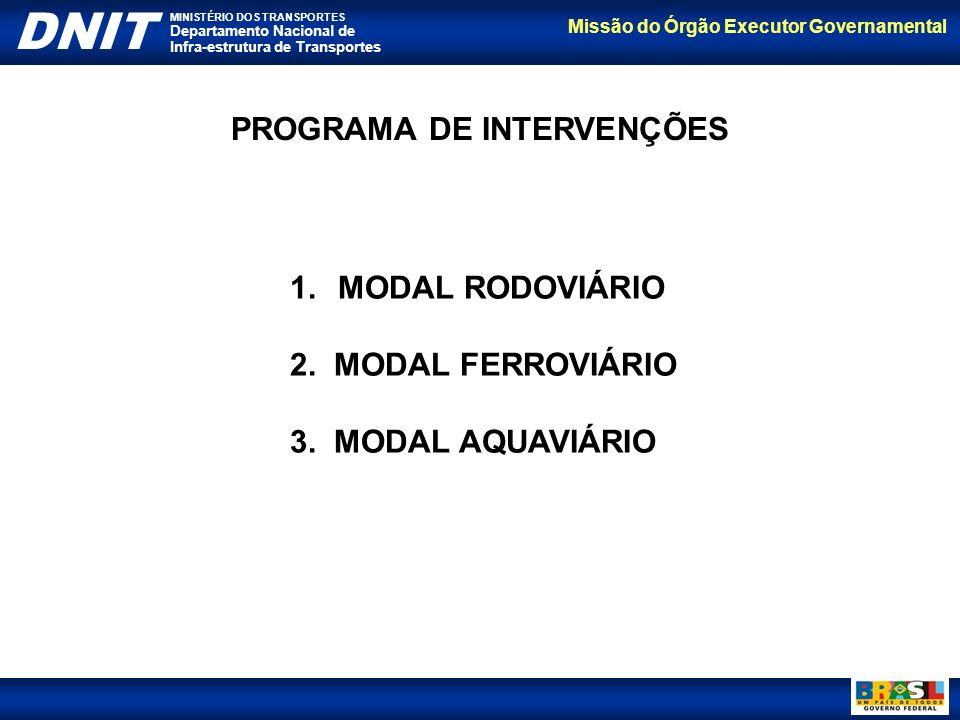 Missão do Órgão Executor Governamental DNIT MINISTÉRIO DOS TRANSPORTES Departamento Nacional de Infra-estrutura de Transportes PROGRAMA DE INTERVENÇÕE