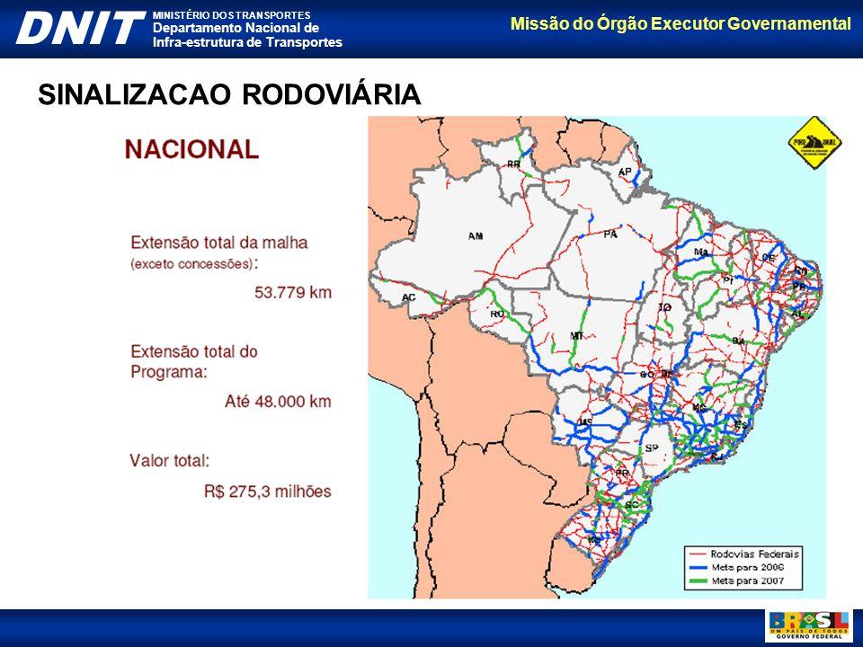Missão do Órgão Executor Governamental DNIT MINISTÉRIO DOS TRANSPORTES Departamento Nacional de Infra-estrutura de Transportes SINALIZACAO RODOVIÁRIA