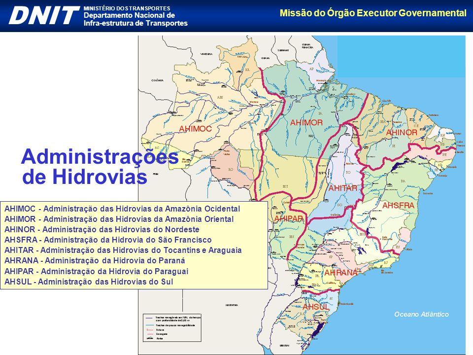 Missão do Órgão Executor Governamental DNIT MINISTÉRIO DOS TRANSPORTES Departamento Nacional de Infra-estrutura de Transportes AHIMOC - Administração