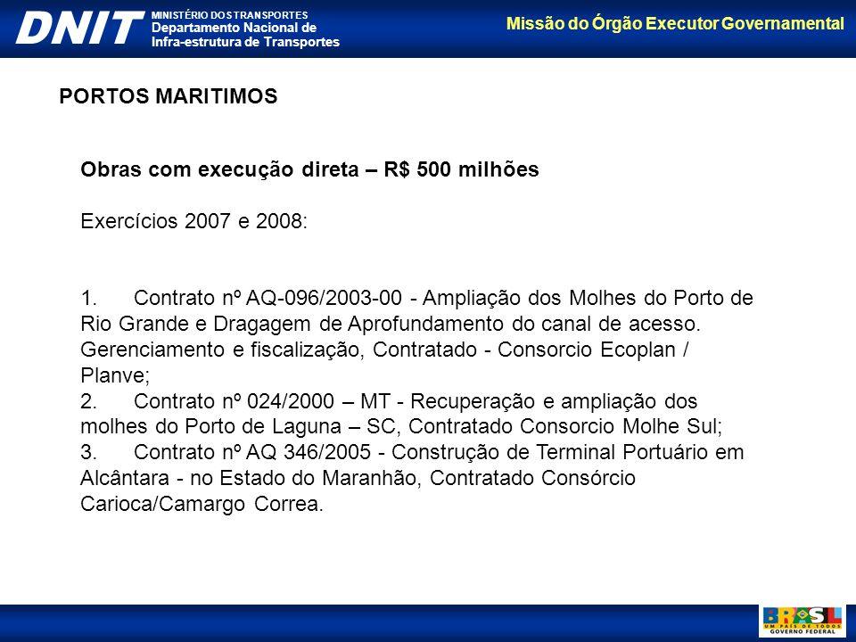 Missão do Órgão Executor Governamental DNIT MINISTÉRIO DOS TRANSPORTES Departamento Nacional de Infra-estrutura de Transportes Obras com execução dire