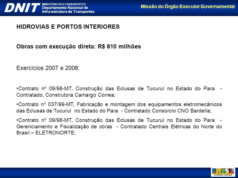 Missão do Órgão Executor Governamental DNIT MINISTÉRIO DOS TRANSPORTES Departamento Nacional de Infra-estrutura de Transportes HIDROVIAS E PORTOS INTE