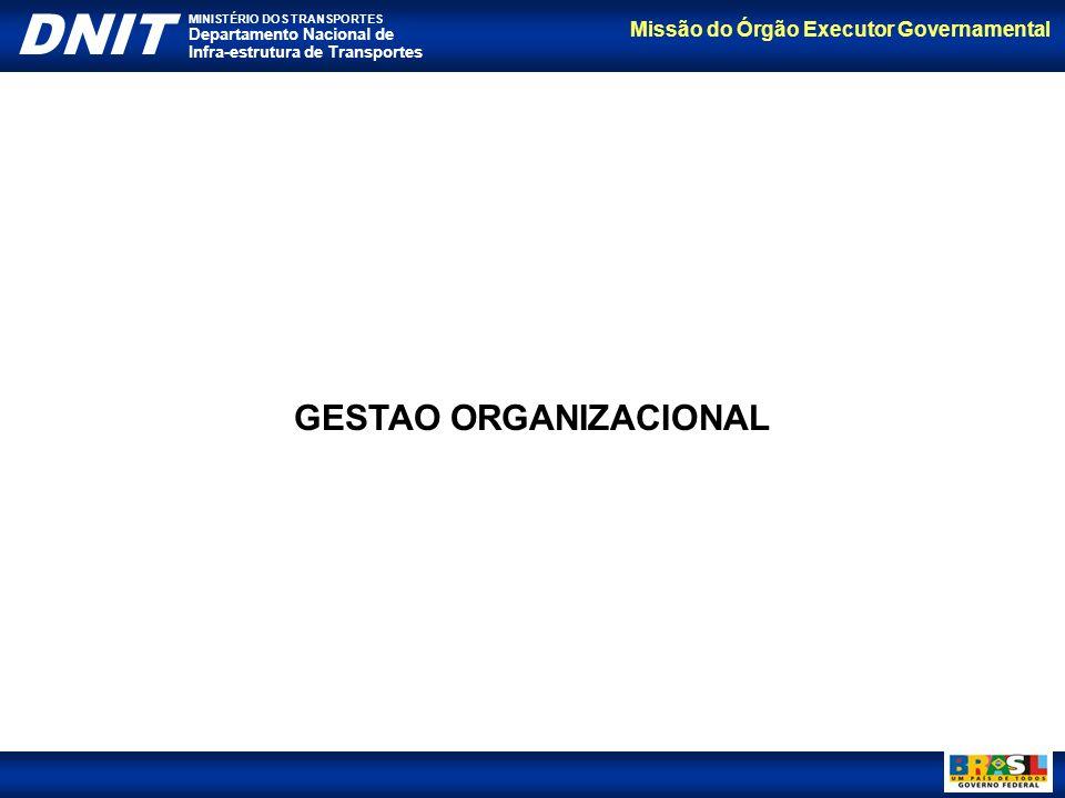Missão do Órgão Executor Governamental DNIT MINISTÉRIO DOS TRANSPORTES Departamento Nacional de Infra-estrutura de Transportes GESTAO ORGANIZACIONAL