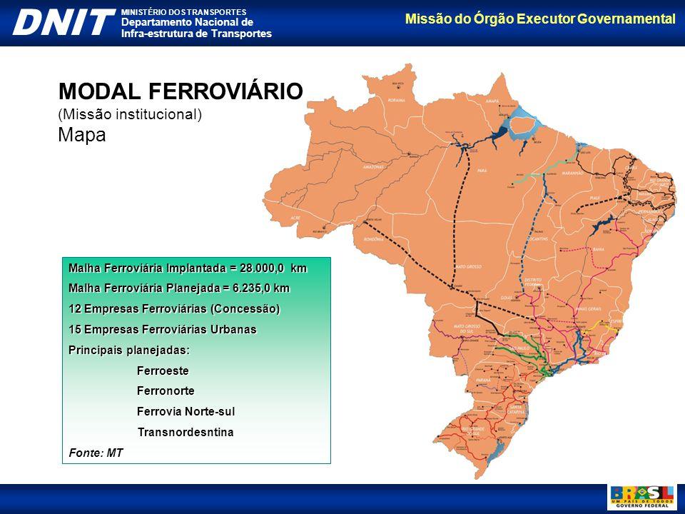 Missão do Órgão Executor Governamental DNIT MINISTÉRIO DOS TRANSPORTES Departamento Nacional de Infra-estrutura de Transportes MODAL AQUAVIÁRIO (Missão institucional) 8 Bacias Hidrográficas Principais Cerca de 10.000 km de rios navegáveis nas principais hidrovias Cerca de 42.000 km de rios navegáveis na navegação interior Fonte: MT