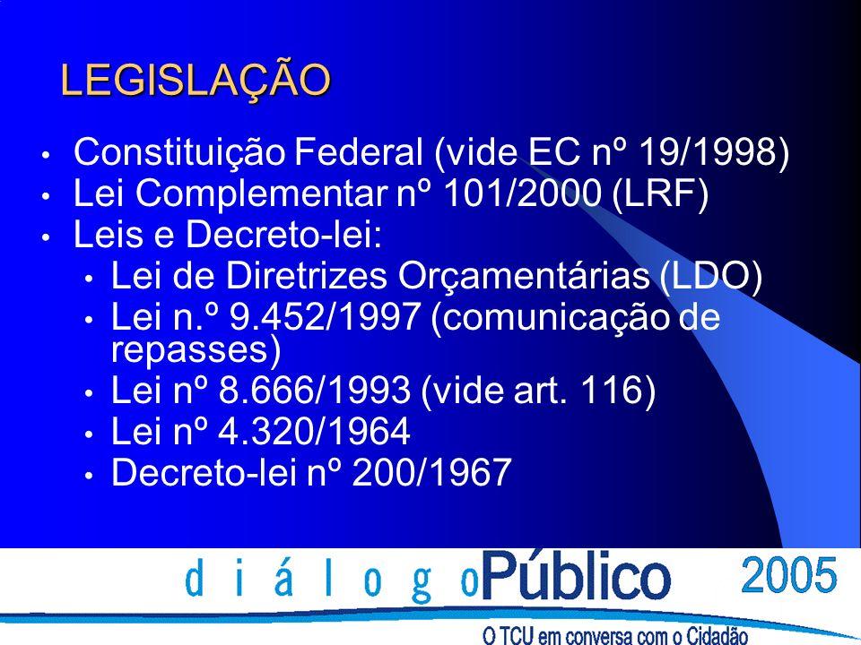 LEGISLAÇÃO Constituição Federal (vide EC nº 19/1998) Lei Complementar nº 101/2000 (LRF) Leis e Decreto-lei: Lei de Diretrizes Orçamentárias (LDO) Lei n.º 9.452/1997 (comunicação de repasses) Lei nº 8.666/1993 (vide art.