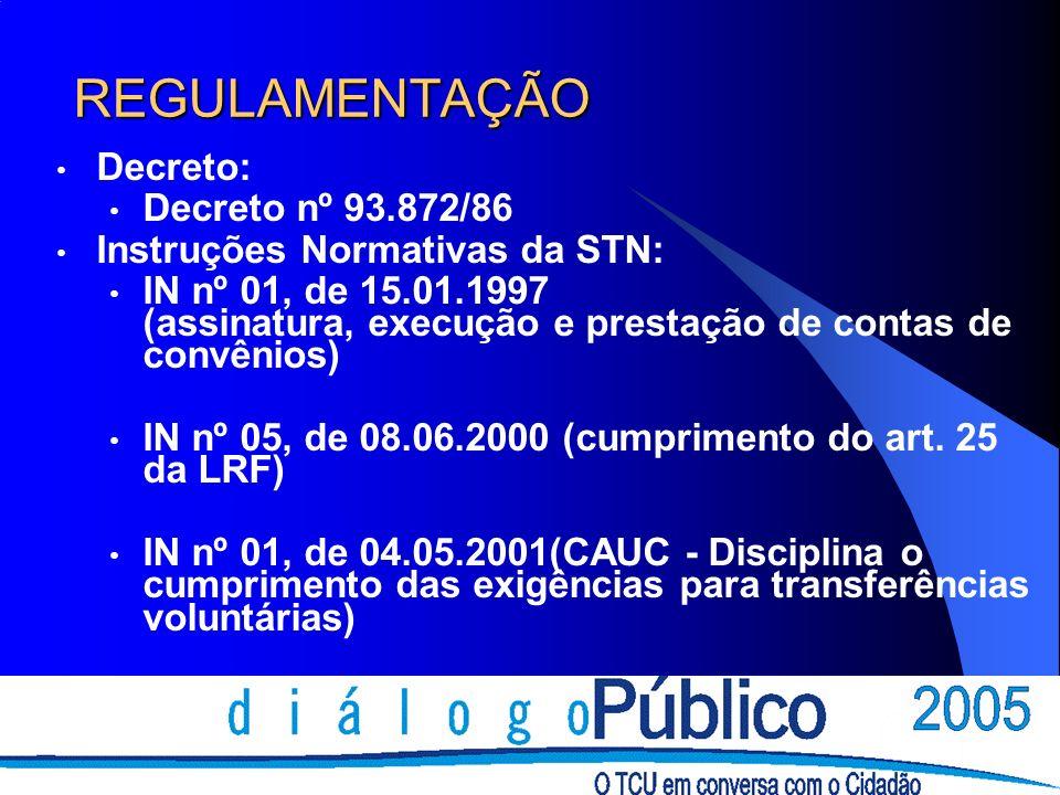 REGULAMENTAÇÃO Decreto: Decreto nº 93.872/86 Instruções Normativas da STN: IN nº 01, de 15.01.1997 (assinatura, execução e prestação de contas de convênios) IN nº 05, de 08.06.2000 (cumprimento do art.