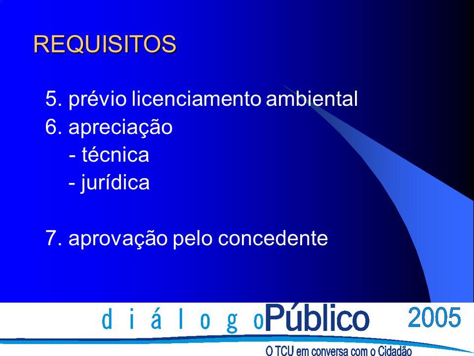 REQUISITOS 5. prévio licenciamento ambiental 6. apreciação - técnica - jurídica 7.
