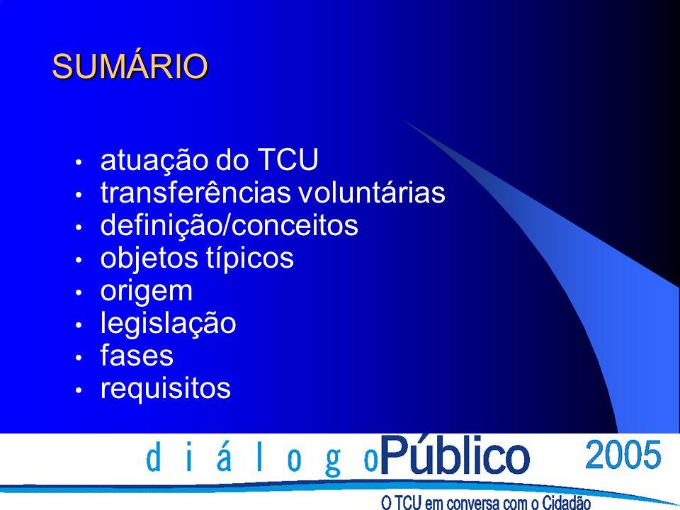 SUMÁRIO atuação do TCU transferências voluntárias definição/conceitos objetos típicos origem legislação fases requisitos