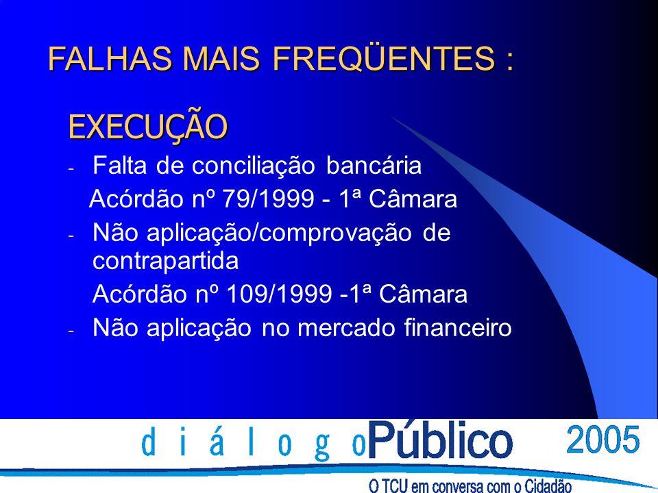 EXECUÇÃO - Falta de conciliação bancária Acórdão nº 79/1999 - 1ª Câmara - Não aplicação/comprovação de contrapartida Acórdão nº 109/1999 -1ª Câmara -