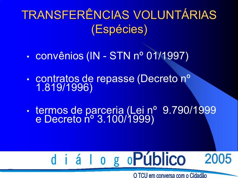 TRANSFERÊNCIAS VOLUNTÁRIAS (Espécies) convênios (IN - STN nº 01/1997) contratos de repasse (Decreto nº 1.819/1996) termos de parceria (Lei nº 9.790/1999 e Decreto nº 3.100/1999)