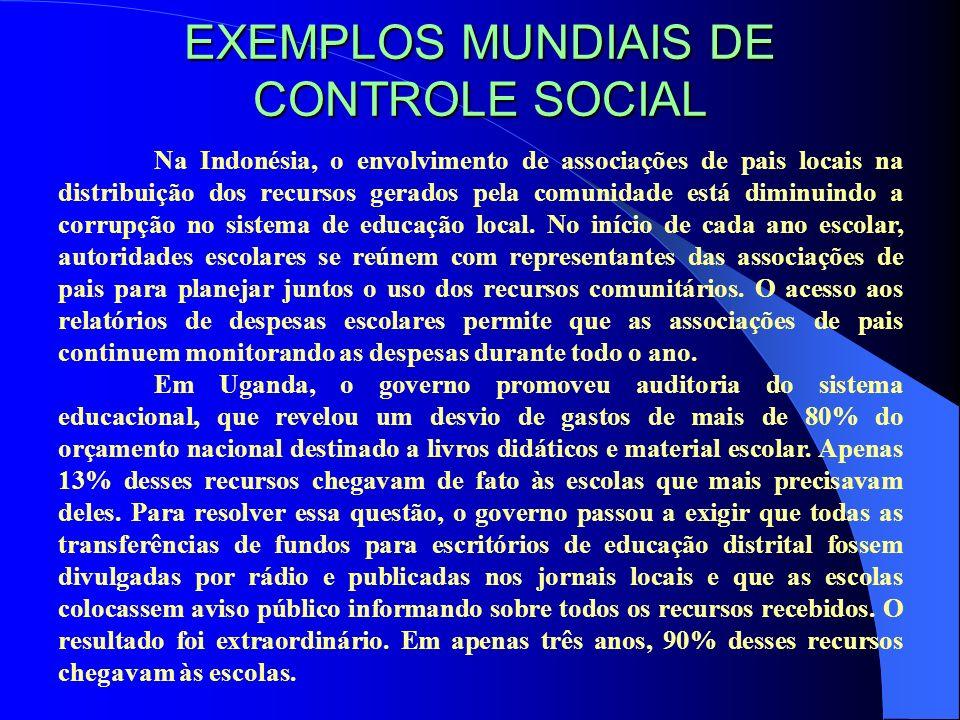 EXEMPLOS MUNDIAIS DE CONTROLE SOCIAL Na Indonésia, o envolvimento de associações de pais locais na distribuição dos recursos gerados pela comunidade e
