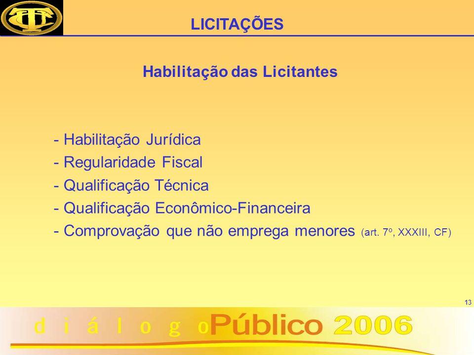 13 Habilitação das Licitantes - Habilitação Jurídica - Regularidade Fiscal - Qualificação Técnica - Qualificação Econômico-Financeira - Comprovação que não emprega menores (art.