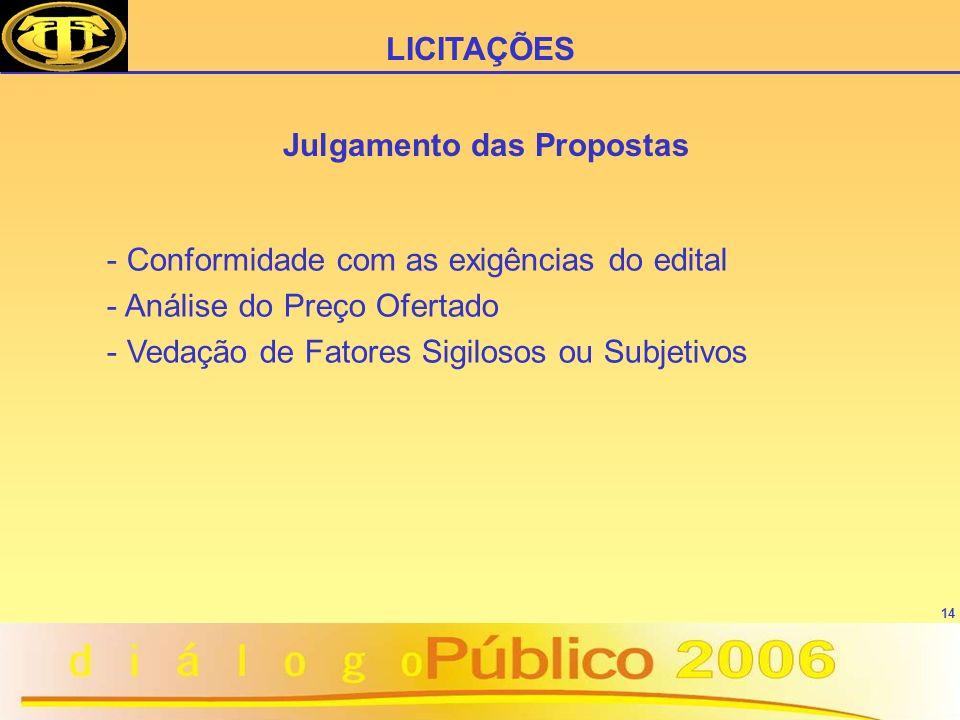 14 Julgamento das Propostas - Conformidade com as exigências do edital - Análise do Preço Ofertado - Vedação de Fatores Sigilosos ou Subjetivos LICITAÇÕES