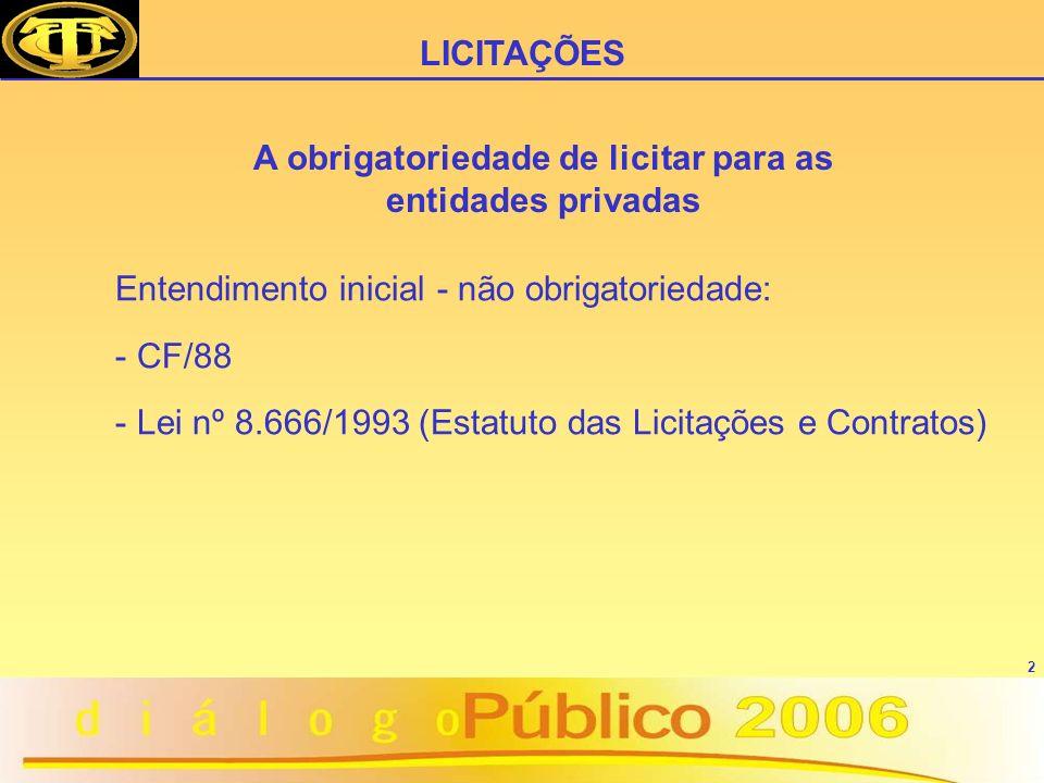 2 Entendimento inicial - não obrigatoriedade: - CF/88 - Lei nº 8.666/1993 (Estatuto das Licitações e Contratos) LICITAÇÕES A obrigatoriedade de licitar para as entidades privadas