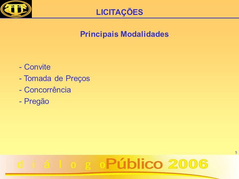 5 Principais Modalidades - Convite - Tomada de Preços - Concorrência - Pregão LICITAÇÕES