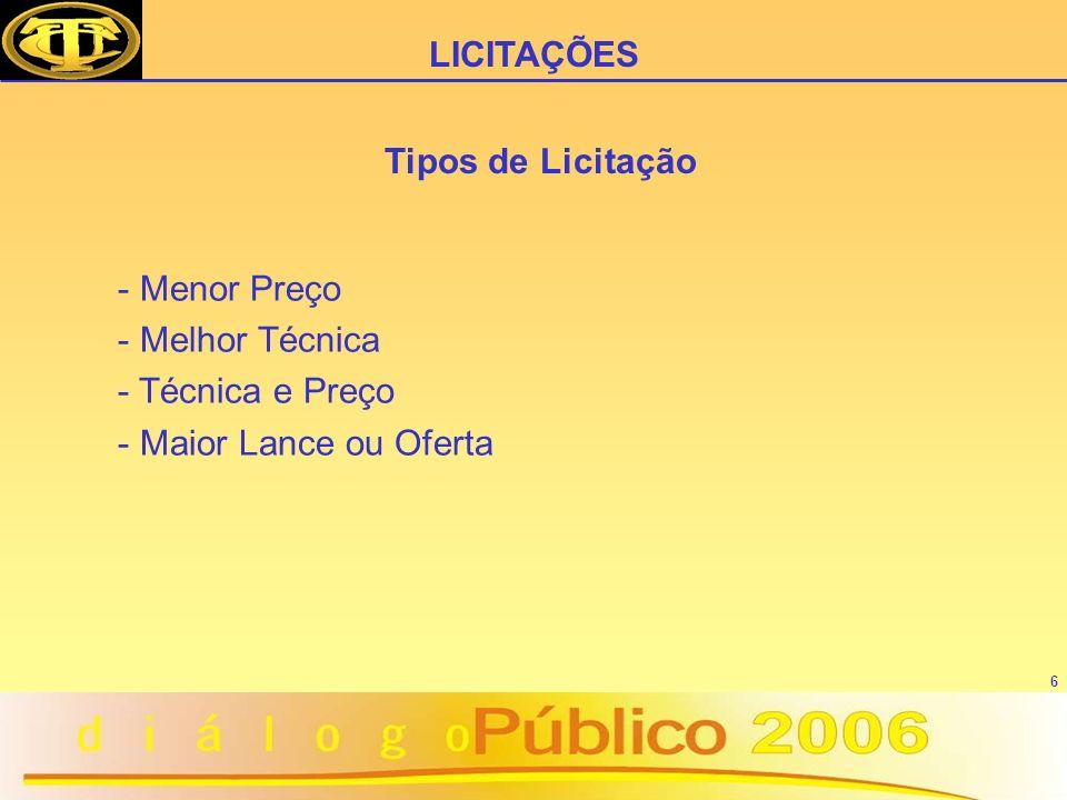 6 Tipos de Licitação - Menor Preço - Melhor Técnica - Técnica e Preço - Maior Lance ou Oferta LICITAÇÕES
